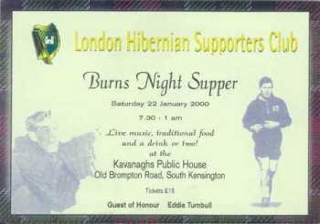London Hibs Burns Night Supper 2000